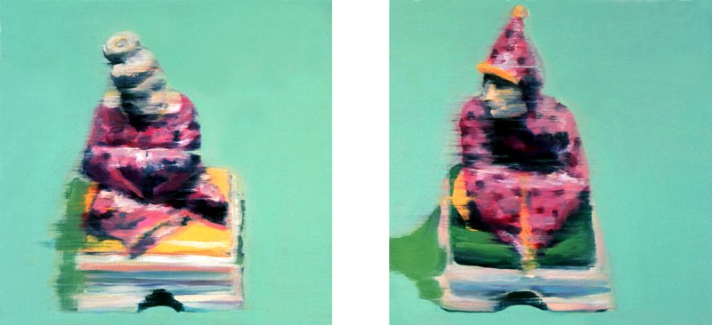 "Dwellings, diptych , 10x10"" each, 1999. Private collection, NY."