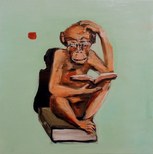 """Monkey Book , oil on canvas , 20x20"""", 2010. Private Collection."""