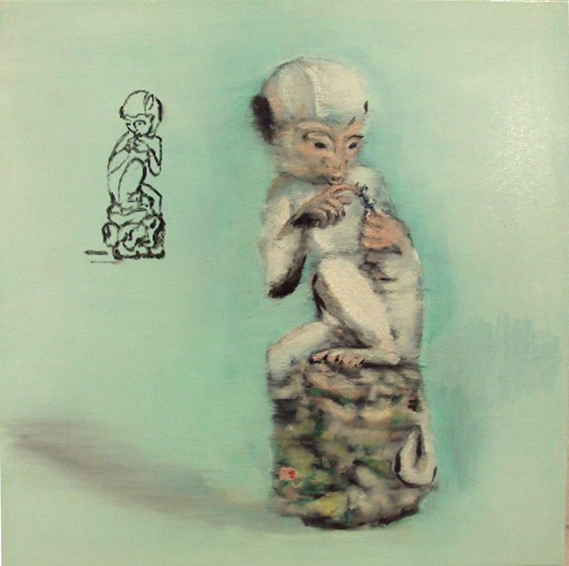 "Monkey Bug , oil on canvas,  20x20"", 2010.Courtesy Deborah Colton, TX."