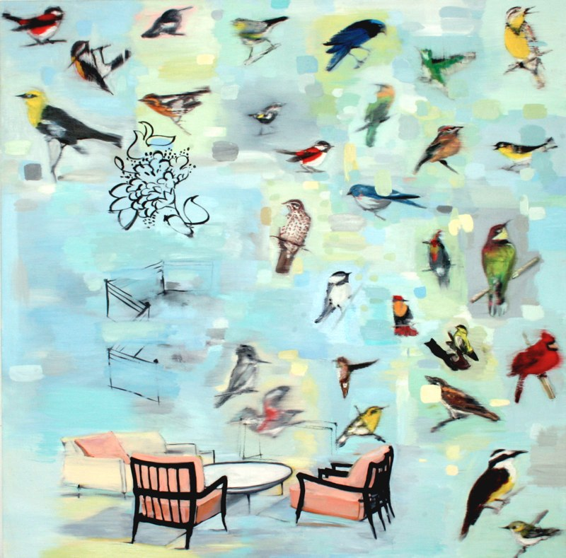 Lounge , oil on canvas, 48x48 inches, 2003. Private collection, CA.