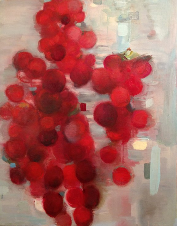 Cherry Smoke , oil on canvas, 36x2 inches, 2012.