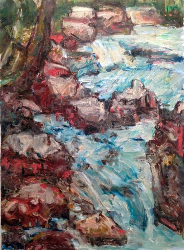 """Bear Creek Fall ,oil on paper, 30x22"""",  2012."""