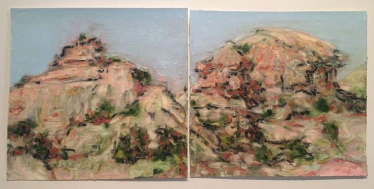 "Nambe Bluffs , oil on paper, 12x36"", 2012. Private collection, NM."