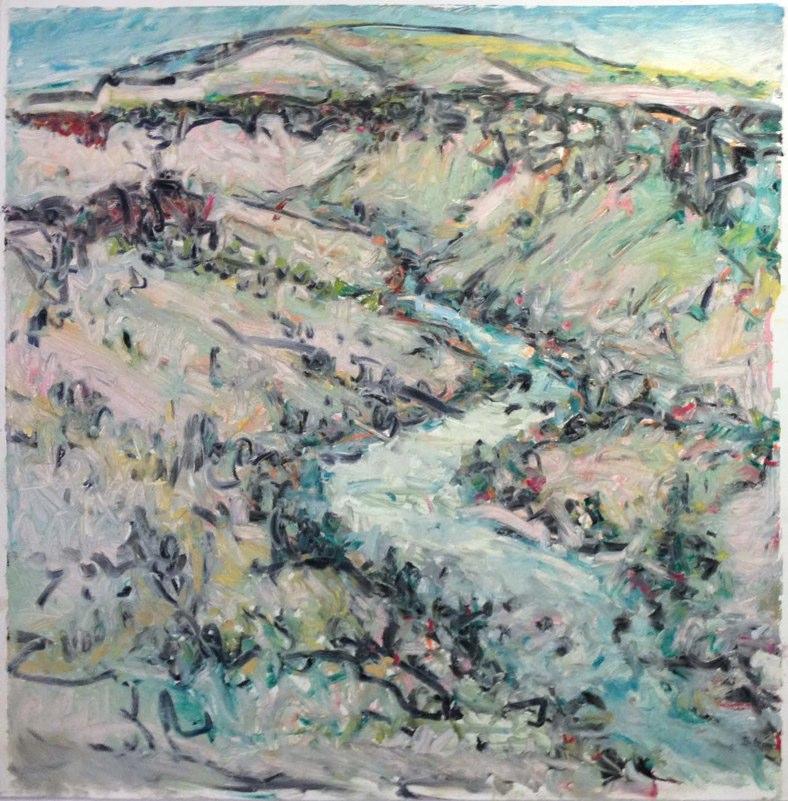 """Rio Grande Gorge,Wild Rivers, oil on paper,  32x32"""", 2014. Private collection, NM."""