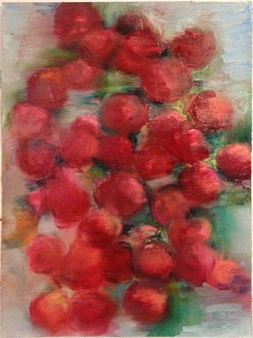 "Cherry Peach II , oil on paper, 30x22"", 2015."