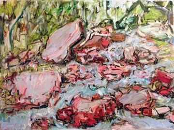 "Esopus Creek , oil on paper, 22x30"", 2015."