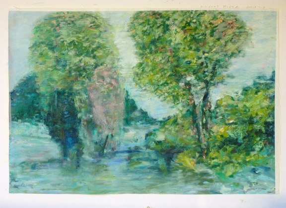"Bernheim Forest with Missouri River,  oil on paper, 30x40"", 2014."