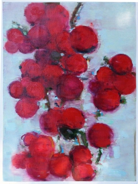 "Red Berry Cluster , oil on paper, 30x22"", 2013."