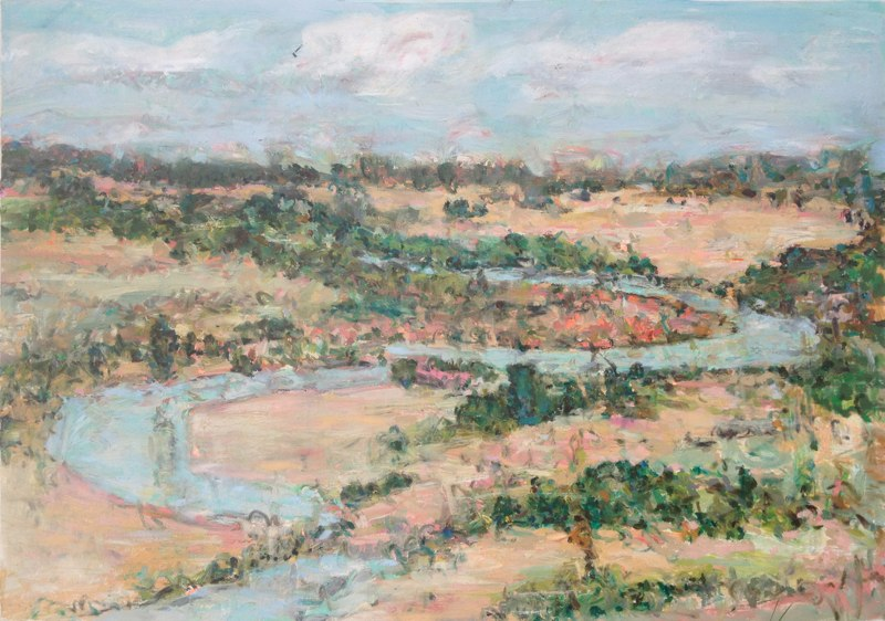 "Cheyenne River (from Davidson Flats) , oil on paper, 32x40"", 2014. Private collection, NM"
