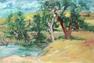 "Turtle Dam, Uncle Bill's Land , oil on paper, 30x40"". Private collection, MPLS."