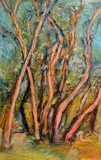 """Rio Grande Bosque , oil on paper,  30x22"""", . P rivate collection, CA."""