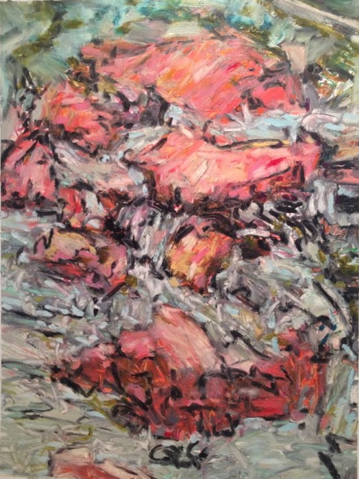 "Los Huertos / Two Stars Cochiti , oil on paper, 30x28"", 2012."