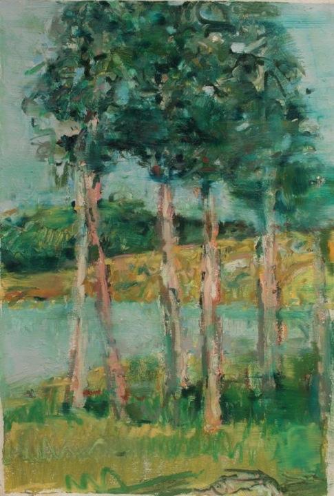 "Black Hills Ponderosa, Pactola Lake , oil on paper, 30x22"", 2011."