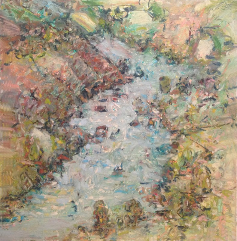 """Rio Grande Gorge From the Rim , oil on paper, 32x32"""", 2012.Private collection, Santa Fe."""