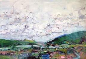 "Sky View in Rio Gorge, oil on paper, 30x40"", 2015. Private collection, NM."