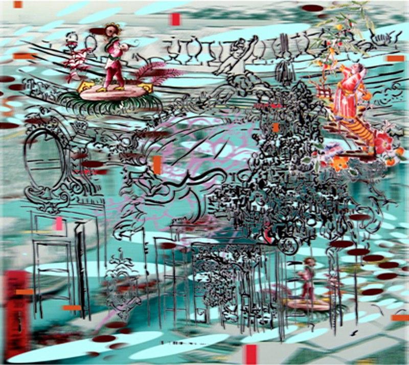 "Bridge, Bed, Dream , 3D lenticular print on sintra , 19x22"" , 2007."
