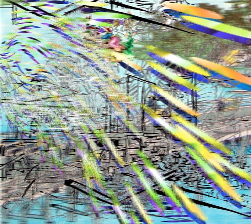 "Bridge, Country, Wave , 3D lenticular print on sintra , 19x22"" , 2007."