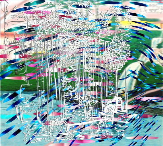 "Bedroom Waterfall , 3D lenticular print on sintra , 19x22"" , 2007."