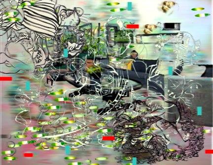 "Eros, Trios , 3D lenticular print on sintra , 14x18"" , 2009."