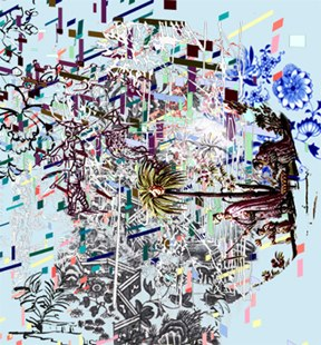 "Wander ,  3D lenticular print on sintra  , 27x22""  , 2009."