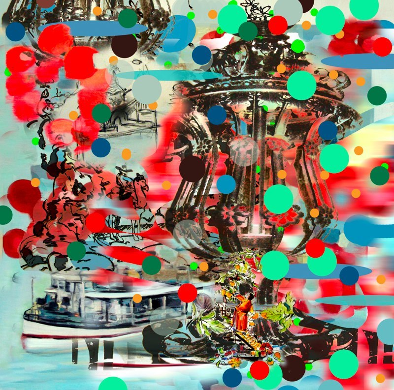 Boat Post , 3D lenticular print on sintra , 10  x  10 inches , 2006.