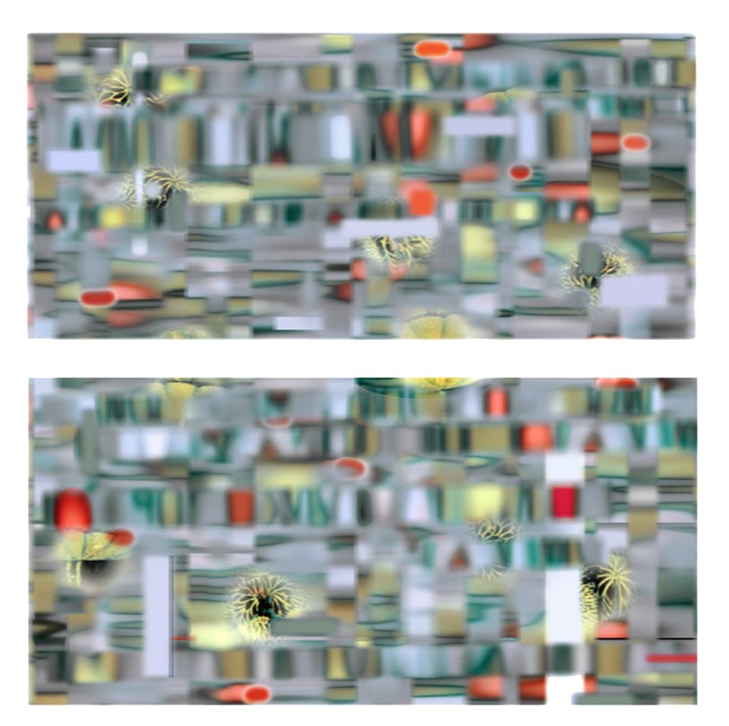 Poly Gala Twee, I and II , 3D lenticular print on sintra , 16x32 inches each , 2003.