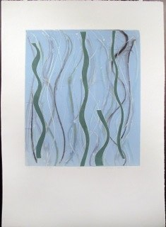 "Blue Green Warp 2,   monoprint,   44x30"",   2014."