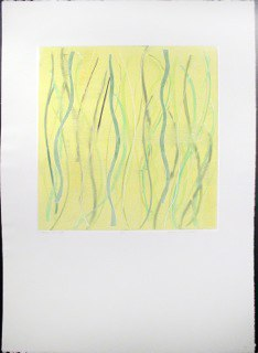 "Yellow Warp 6,  monoprint,   44x30"",   2014."