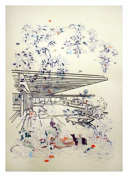 Koenig / Oracle , Ink, conte, gouache on pigment print on somerset velvet , 48x33.75 inches , 2011.