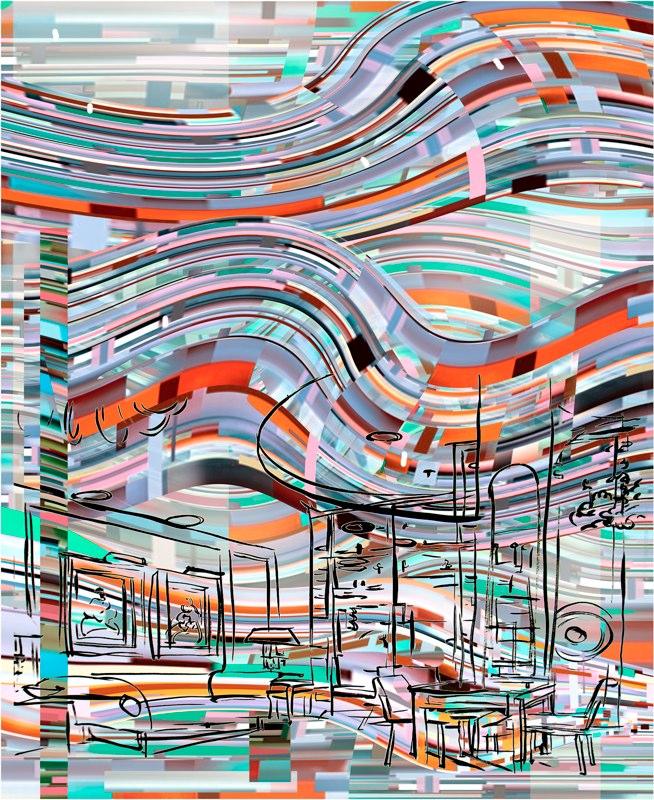 Trans Wave Interior , Ink, gouache, pigment, 2010-11.