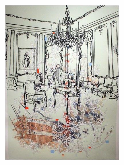 Metropolitan / Charles Deaton (Sleeper film) , Ink, conte, gouache on pigment print on somerset velvet , 48x33.75 inches , 2011.