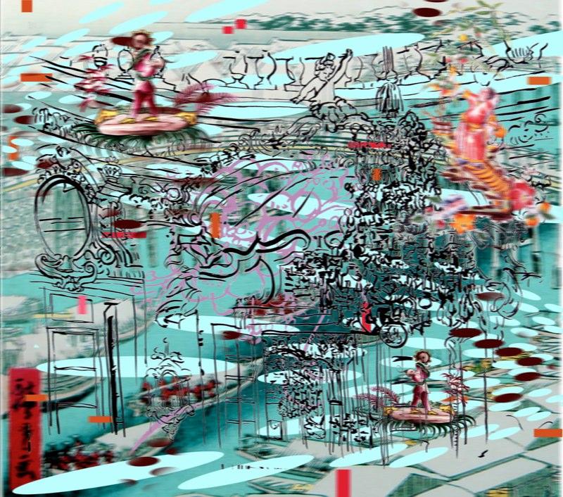 Bridge, Dream , pigment print on rag , 42x47 inches , 2009.