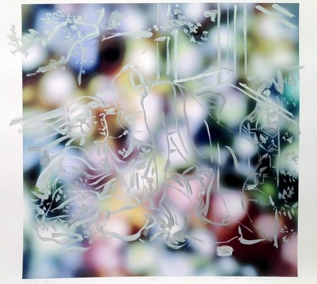 "Eros Garden ,acrylic on pigment print, 17x21"",2011."