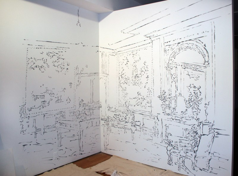 Fragonard Room , ink on wall, Symbiotaxiplasm Exhibition, SS Projects, NY, 2012.