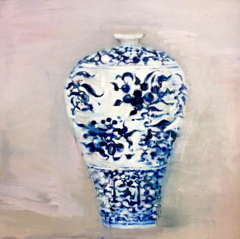 "Ming Ultra Blue Tall , oil on canvas,   24  x  24"", 2014."
