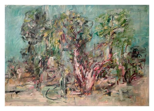 """Juniper and Pinon , oil on paper, 29x41"""", 2014."""