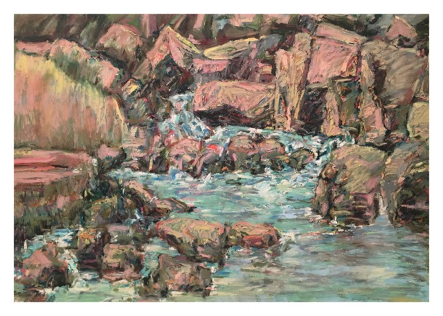 """Red Rock Creek , oil paper, 29x41"""" Public Collection. Denver."""