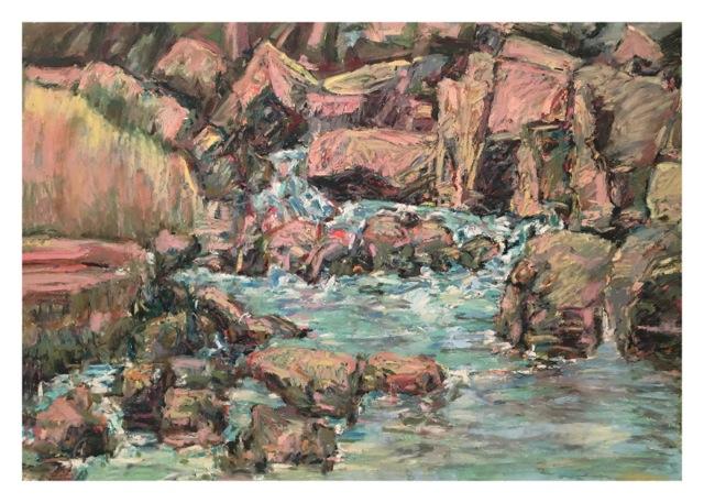 "Red Rock Creek , oil paper,  29x41"","