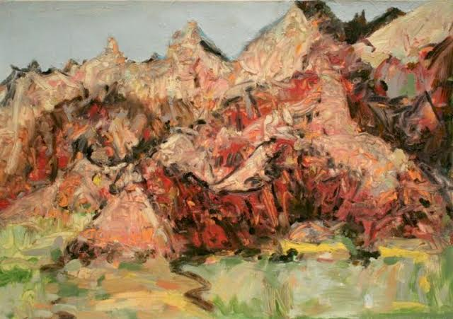"Badlands Peaks SD , oil on paper; 22x30"", 2010. Private collection, SD."