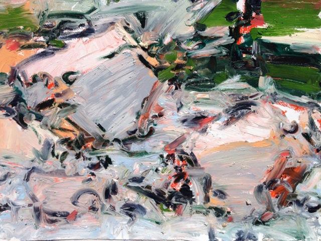 "Ojo Caliente River , oil on paper, 18x 22"", 2013."