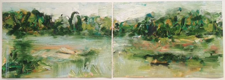 "Wolf Lake  diptych, oil on paper, 12x 36"", 2012. Private collection, CA."