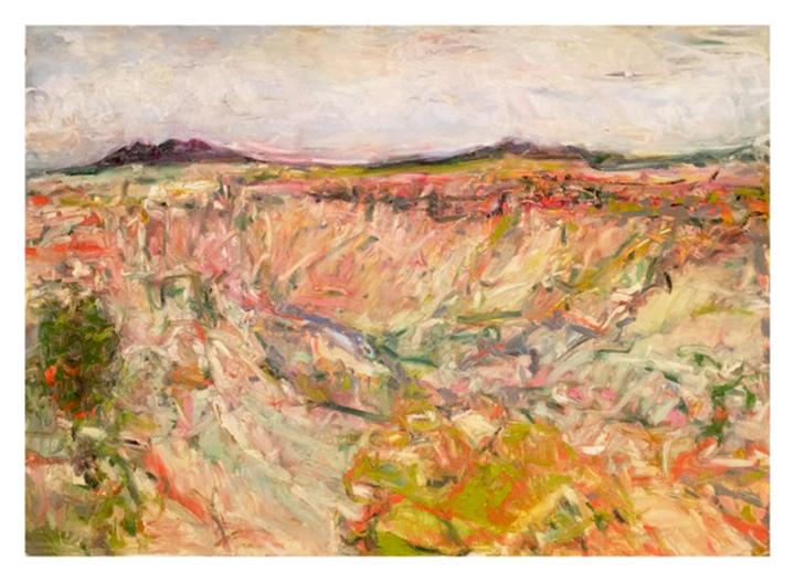 "Canyon Wall Rio Grande , oil on paper, 29x41"", 2016. Collection, Albuqueruqe"