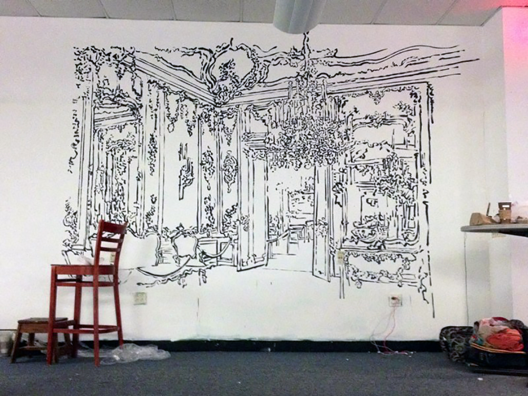Schönbrunn Palace , ink drawing on wall, Gateway Projects, Newark Penn Station, 2014