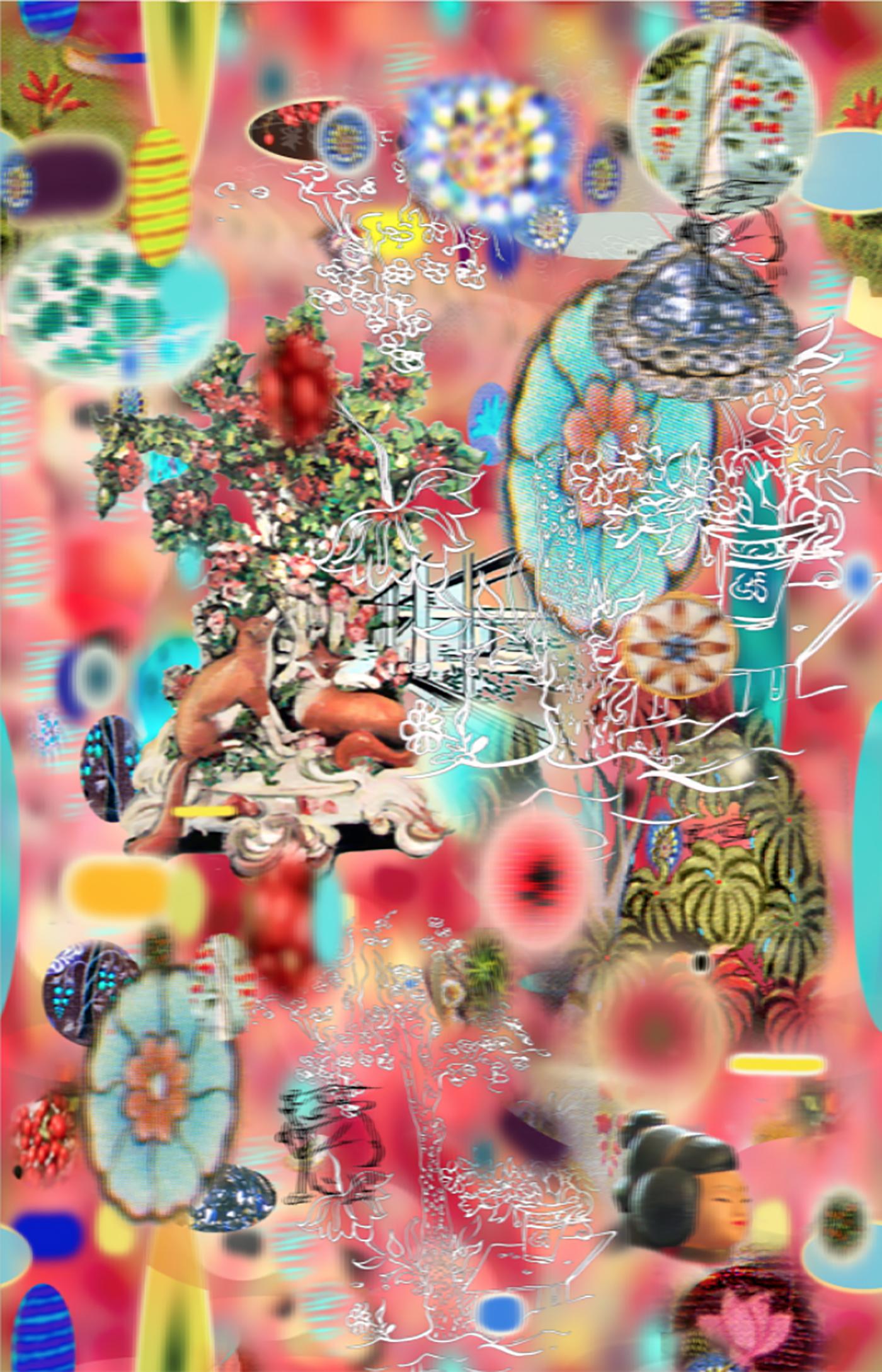 "Tiki Fox Red ,3D lenticular Print,   28x20"",2011."