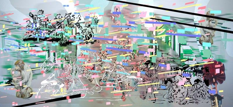 "Lovers Monkey ,3D Lenticular Print, triptych 33x72"", 2007."