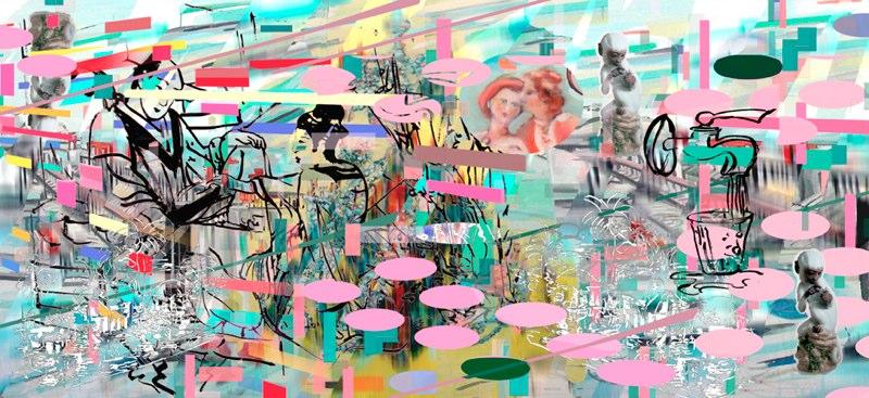 "Making Water , 3D lenticular print, 12x24"", 2008."