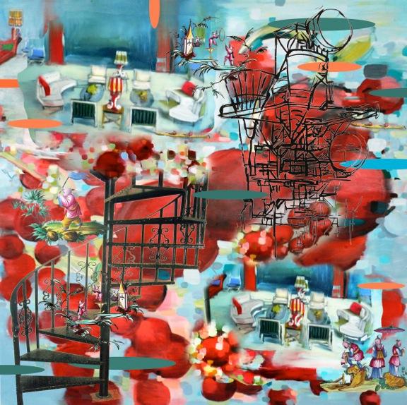 """Cherry house ,3D lenticular print on sintra,   24x24"""",2012."""