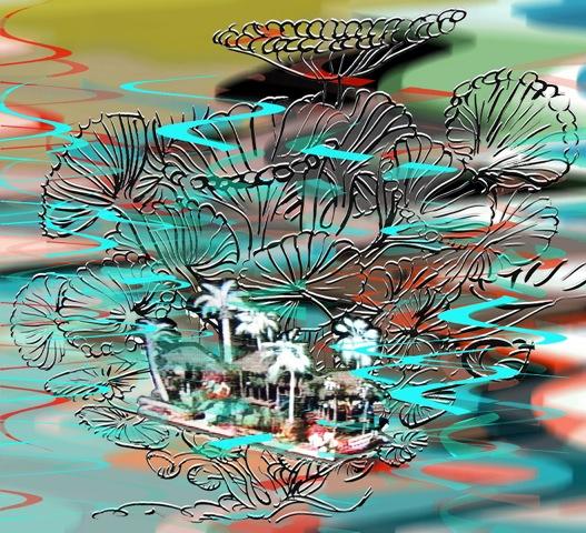 "Wave Sea Parade ,3D lenticular print, 10x10"",2014-16."