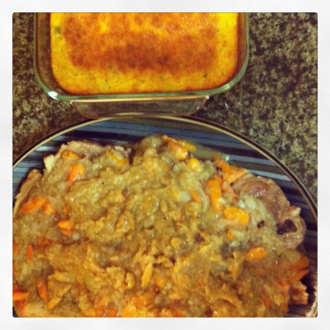 A glimpse of the Mexican Spoon Bread in this photo with the Savory Pork Steak.