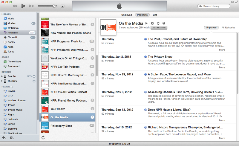 The iTunes podcast view